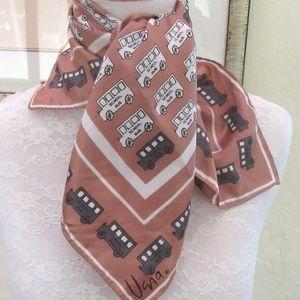 VERA tan scarf with school bus print-teacher gift